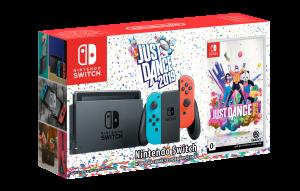 Игровая консоль Nintendo Switch (неоновый красный и неоновый синий) игра Just Dance 2019