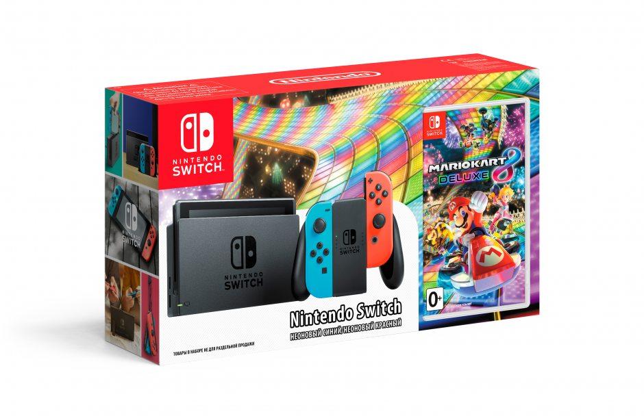 Комплект Nintendo Switch (неоновый) и Mario Kart 8 Deluxe