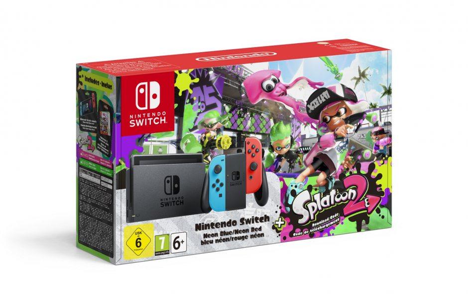 Комплект Nintendo Switch (неоновый) и Splatoon 2