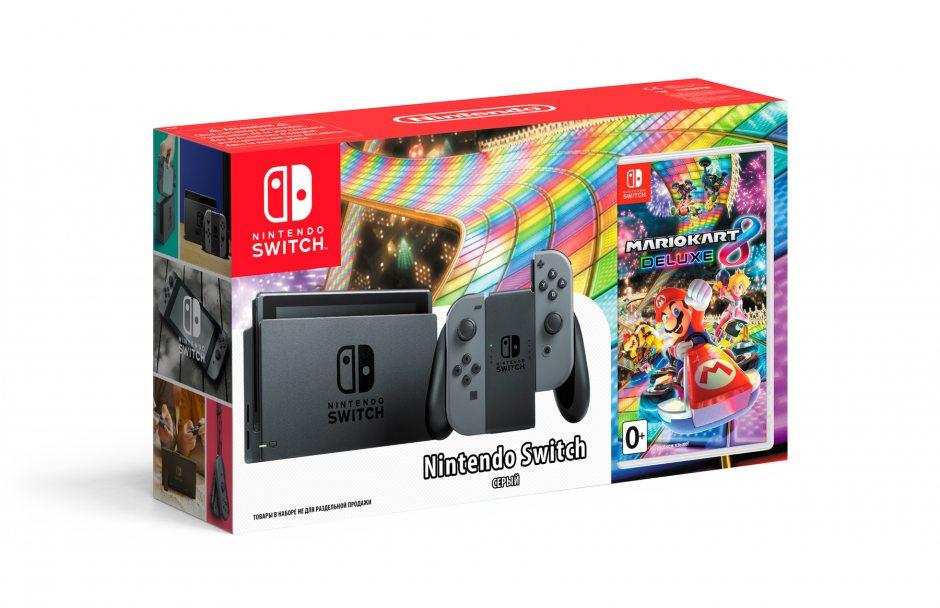 Комплект Nintendo Switch (серый) и Mario Kart 8 Deluxe