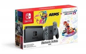 Комплект Nintendo Switch (серый), Mario Kart 8 Deluxe, Arms