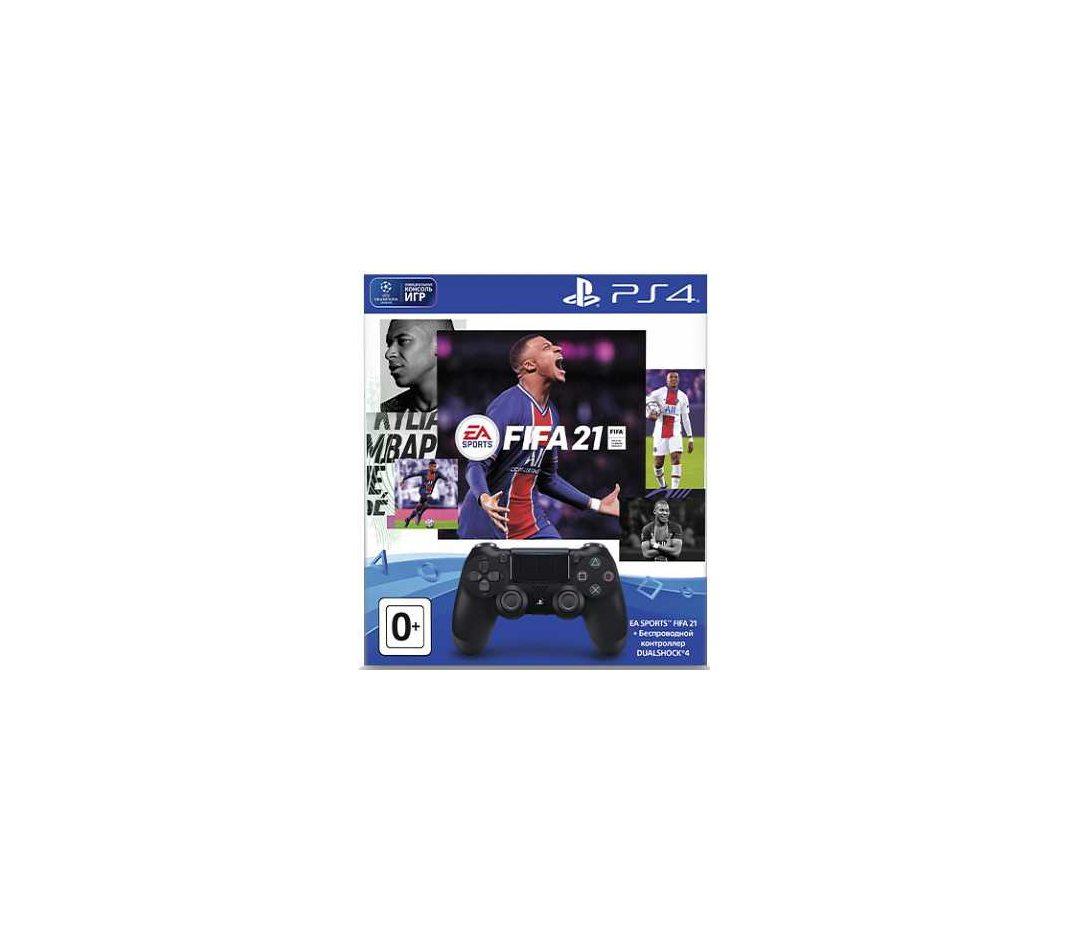 Геймпад DualShock 4 Cont Black беспроводной (черный)  игра Fifa 21  PS Plus 14 дней