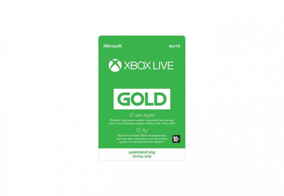 Золотой статус Xbox Live Gold 12 месяцев Xbox, цифровая версия